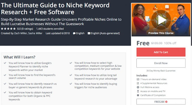 [100% Off] The Ultimate Guide to Niche Keyword Research + Free Software| Worth 199,99$
