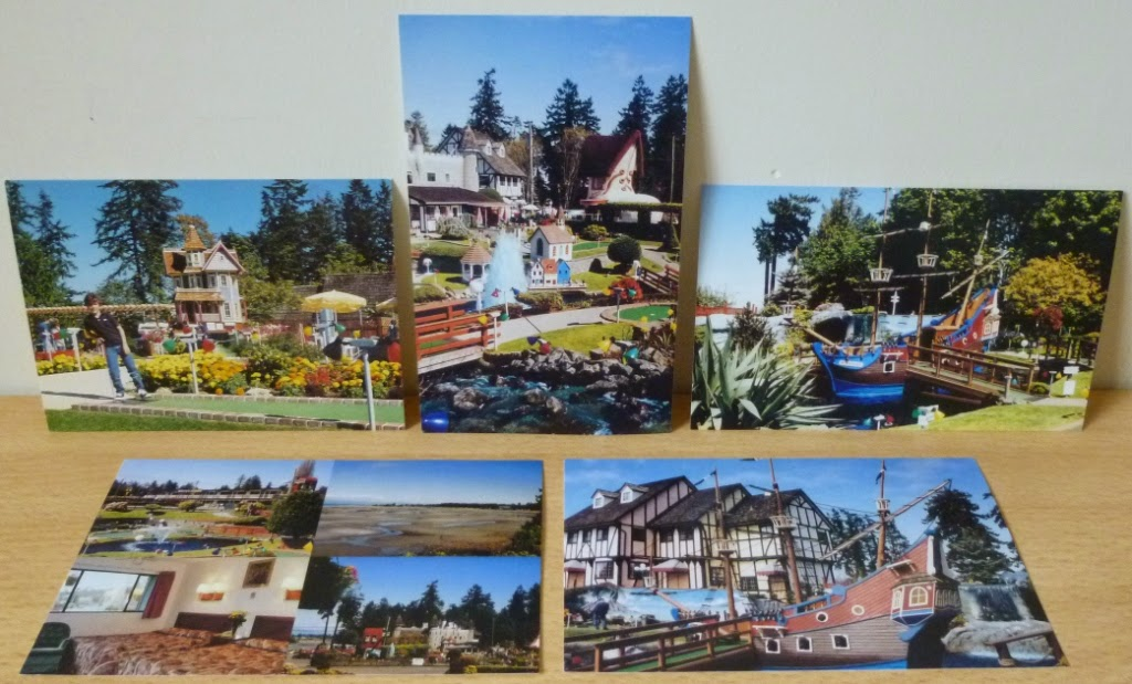 Five postcards from Paradise Fun Park showing the miniature golf courses - Surf 'N Turf and Treasure Island