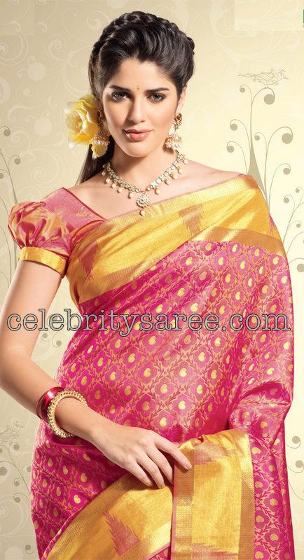 21640cfd744b6 Model in beautiful pink kanchi silk bridal saree with yellow gold heavy  border