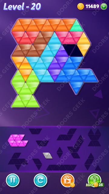 Block! Triangle Puzzle Champion Level 20 Solution, Cheats, Walkthrough for Android, iPhone, iPad and iPod