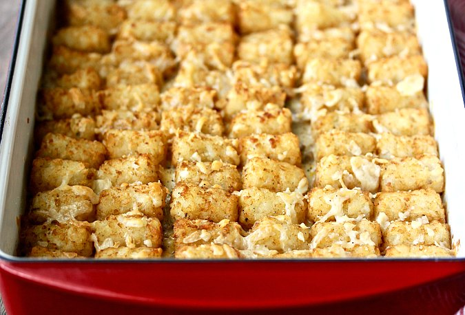 Tater Tot Cowboy Hotdish Casserole with Cheese
