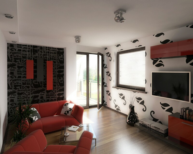 Small living room decorating ideas 2013 2014 room Living room wallpaper ideas red white black