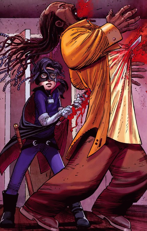 Out of nowhere, Hit-Girl comes and stabs Eddie from the back