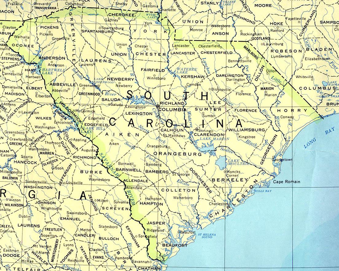 Kaart Zuidelijke Staten Verenigde Staten Kaart South Carolina En Columbia Charleston Vakantie Verenigde Staten