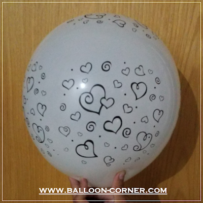 Balon Latex Print Hati Estetika / Aesthetic Love (MURAH)
