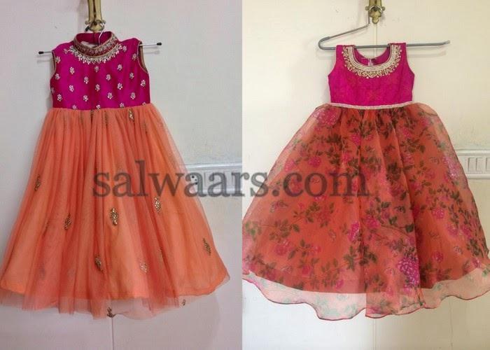e72f280d5 Printed Floral Net Frocks - Indian Dresses