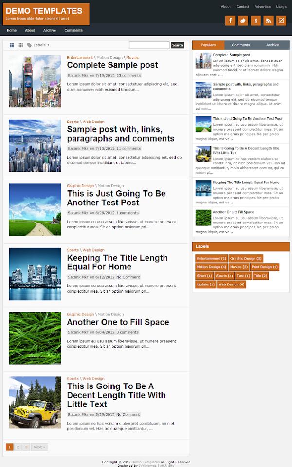 TheTuts Orange Blogger Template