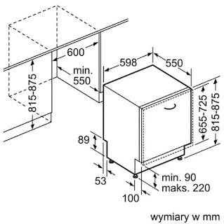 Kích thước máy rửa bát Bosch SMV58L60EU