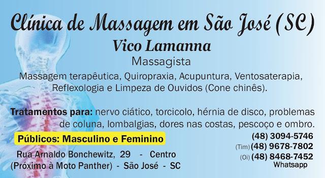 Vico Massagista em São José (SC) - Acupuntura, Quiropraxia, Massoterapia e Massagem Terapêutica em São José (SC) - (48) 3094-5746