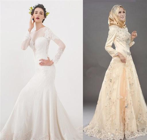 gaun pengantin brokat