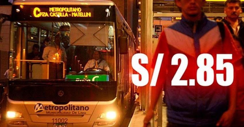 EL METROPOLITANO: Desde hoy aumentarán tarifa de pasaje a S/. 2.85