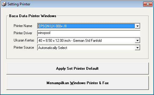 Menenentukan Default Printer Windows dengan VB6