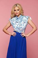 Camasa dama eleganta PrettyGirl albastra mulata cu imprimeu floral