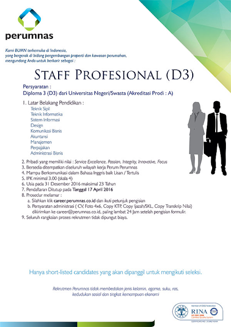 Info Lowongan Kerja Perum Perumnas Staff Profesional (D3) April 2016