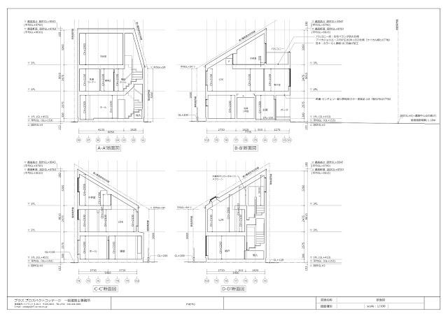 旗竿地に計画した狭小都市型の木造三階建て住宅 断面図