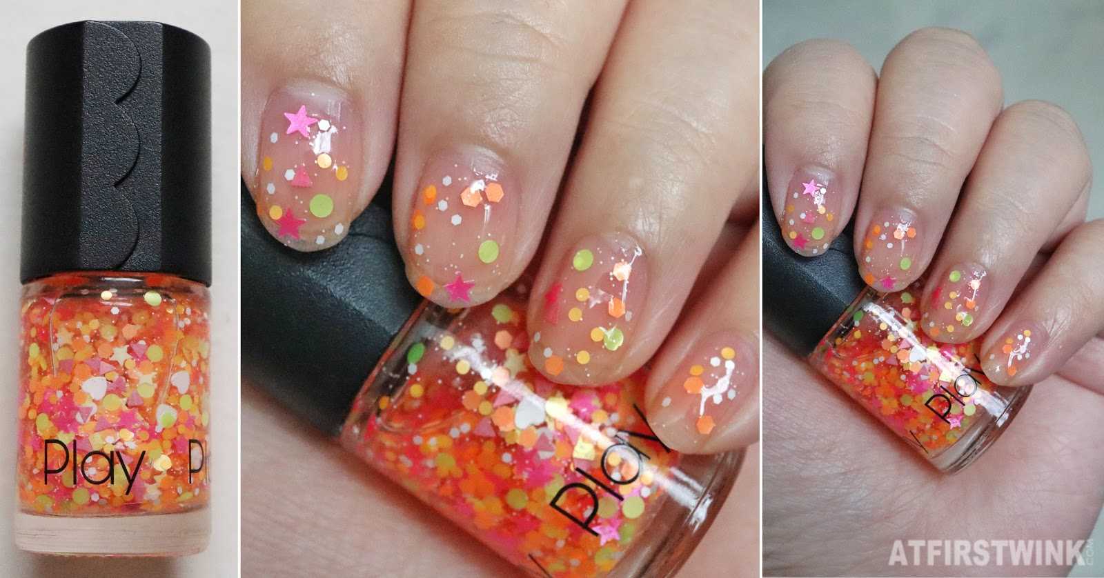 Etude House Play Nail OR053 Beach Volleyball nail polish swatch on nails far close up bottle glitters neon satin finish stars