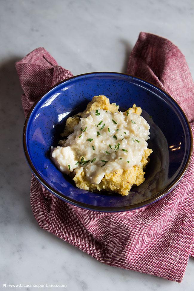 Piatto unico con baccalà con polenta formenton otto file