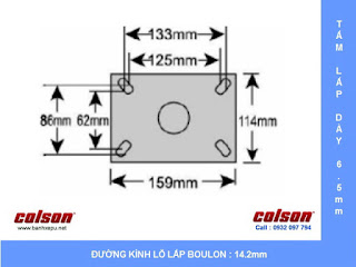 kích thước Bánh xe cao su lò xo giảm xóc Colson 200 chịu tải 400kg | SB-8508-648 sử dụng ổ bi www.banhxeday.xyz