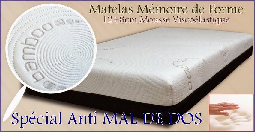 matelas m moire de forme anti mal de dos matelas m moire forme bambou 21cm. Black Bedroom Furniture Sets. Home Design Ideas