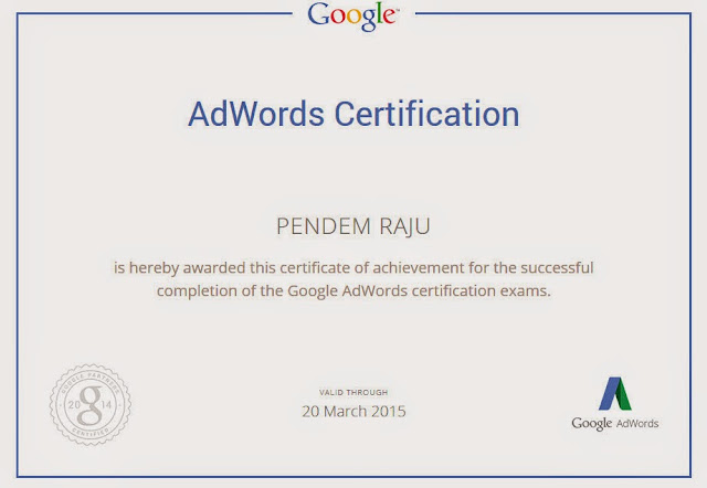 Pendem Raju certificate - certified in Google Adword in Hyderabad