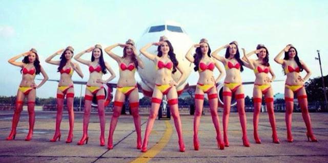 Bah! Pesawat dengan Pramugari Berbikini Resmi Beroperasi di Indonesia