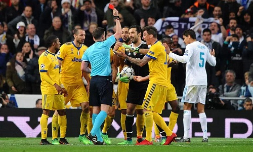 Buffon for the first time and also the last red card in the Champions League