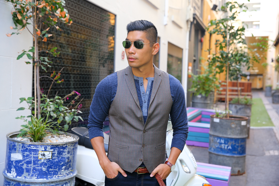 Levitate Style, Grayers Henley, Bar III Vest, Sharp Casual, Leo Chan