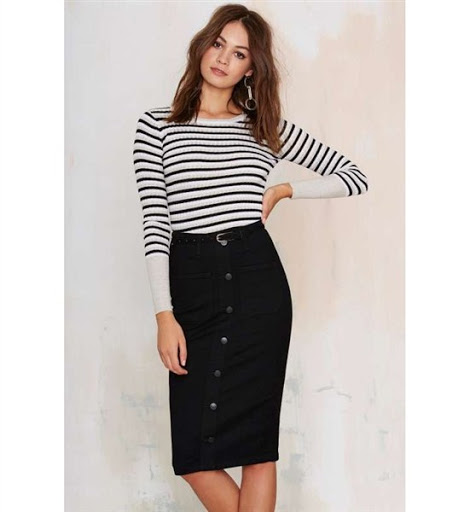 high waisted black denim skirt