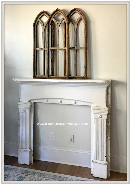 Vintage Fireplace Mantel Makeover-French Farmhouse-Magnolia Home Chalk Style Paint-From My Front Porch To Yours
