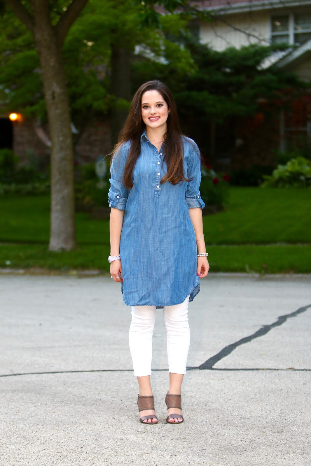 fashion blogger denim dress