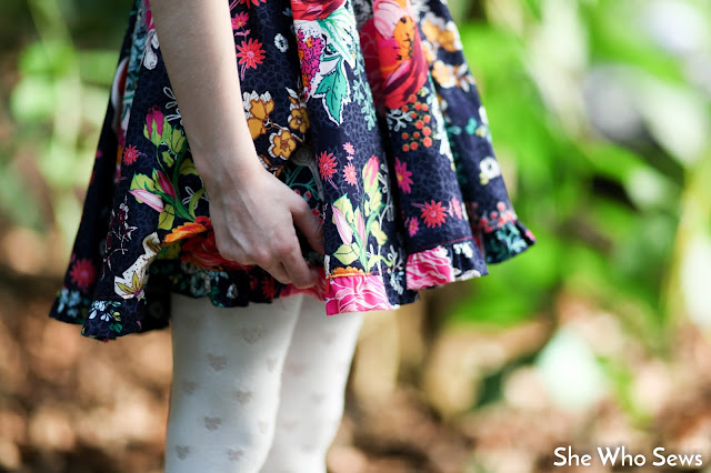 ruffled floral circle skirt