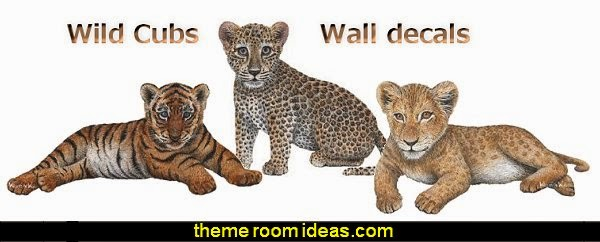 Wild Cubs wall decals   wild animal print bedroom decor  - leopard print decorating ideas- giraffe print - zebra print - cheetah bedroom decor - wild animal print decorating  - leopard print decor - leopard print walls -  tiger wall decal