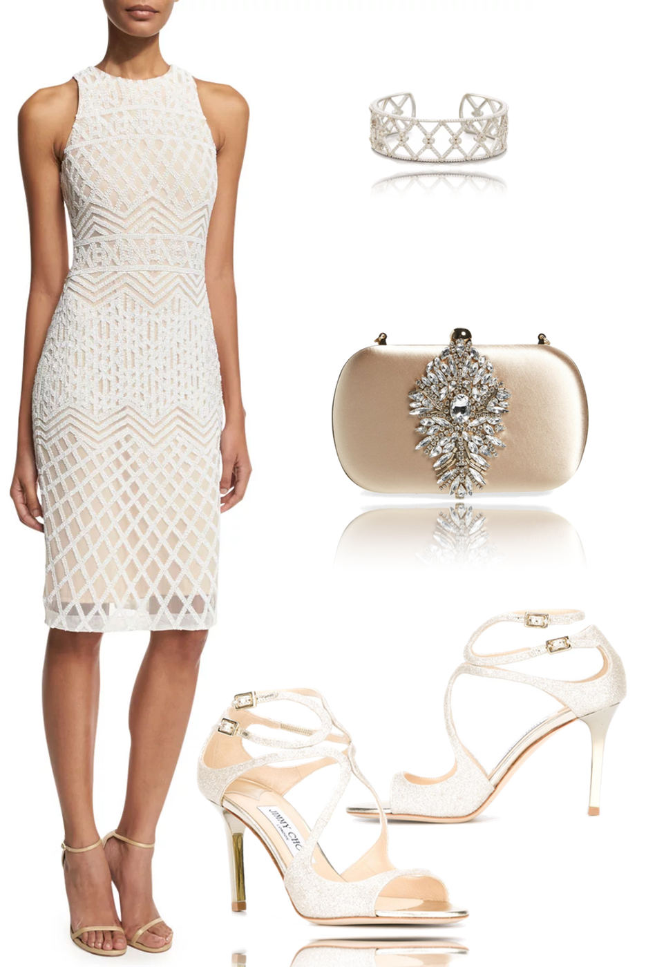 Rachel Gilbert Olympia Linear-Beaded Cocktail Sheath Dress