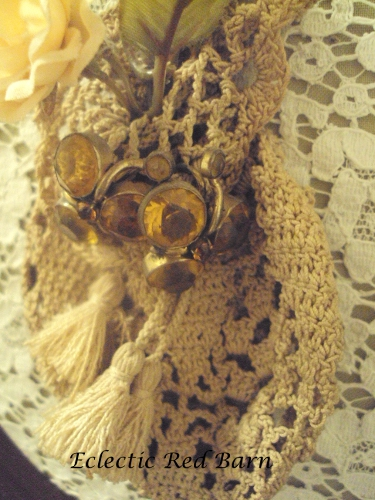 Vintage crocheted purse with vintage earrings