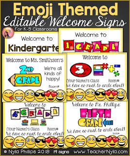 Emoji themed welome posters editable
