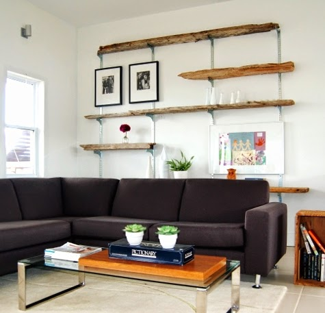 shelving system with driftwood