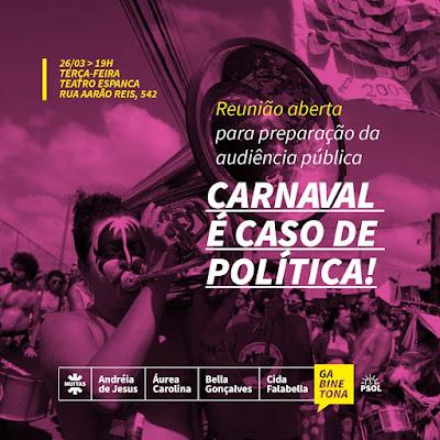 Gabinetona,na Câmara Municipal discutirá política para o Carnaval da capital BH