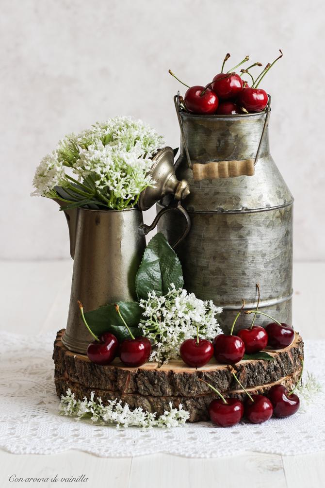 Helado de mascarpone y cerezas