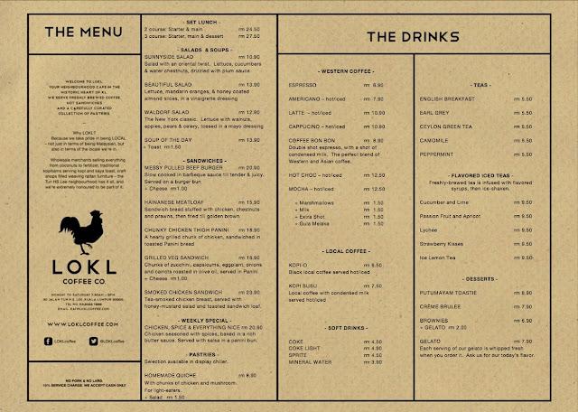 LOKL Coffee Kuala Lumpur menu