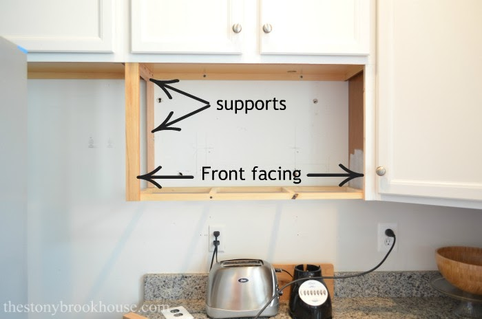 Front and back supports for microwave shelf