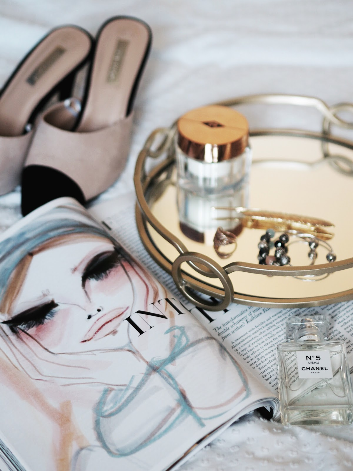 Fashion Illustration in Pastel Colours, Primark Chanel Dupe shoes, Mirrored Tray with accessories flat lay