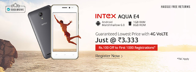 Intex launches cheaper 4G smartphone Aqua E4 Rs 3333