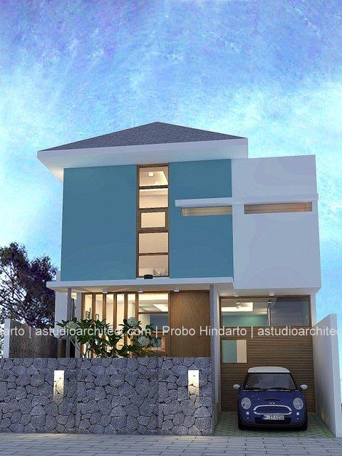 Rumah modern minimalisme biru