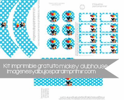 decoración de cupcakes y etiquetas de mickey mouse clubhouse
