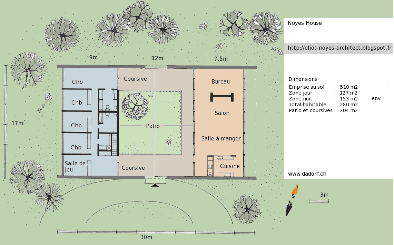 plan maison patio interieur