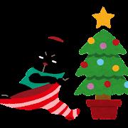 クリスマスソックスを広げる ぴょこ のイラスト