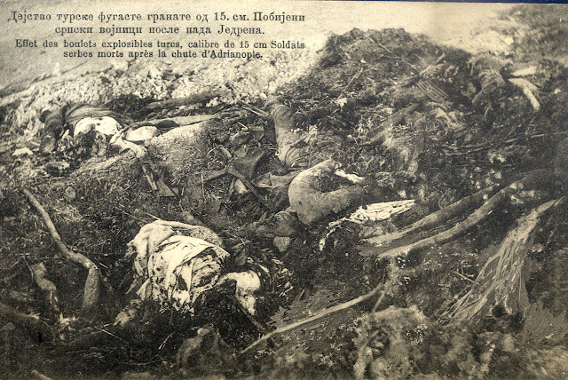 Impact of Turkish 15 cm grenade - Killed Serbian soldiers after the fall of Edirne (First Balkan War)