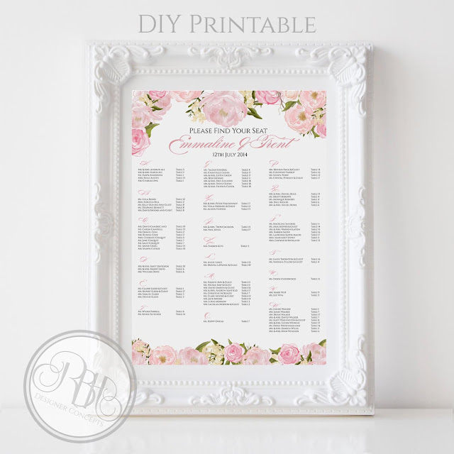 Dusty Pink Peonies, Roses, Alphabetical, Wedding, Seating Chart, template