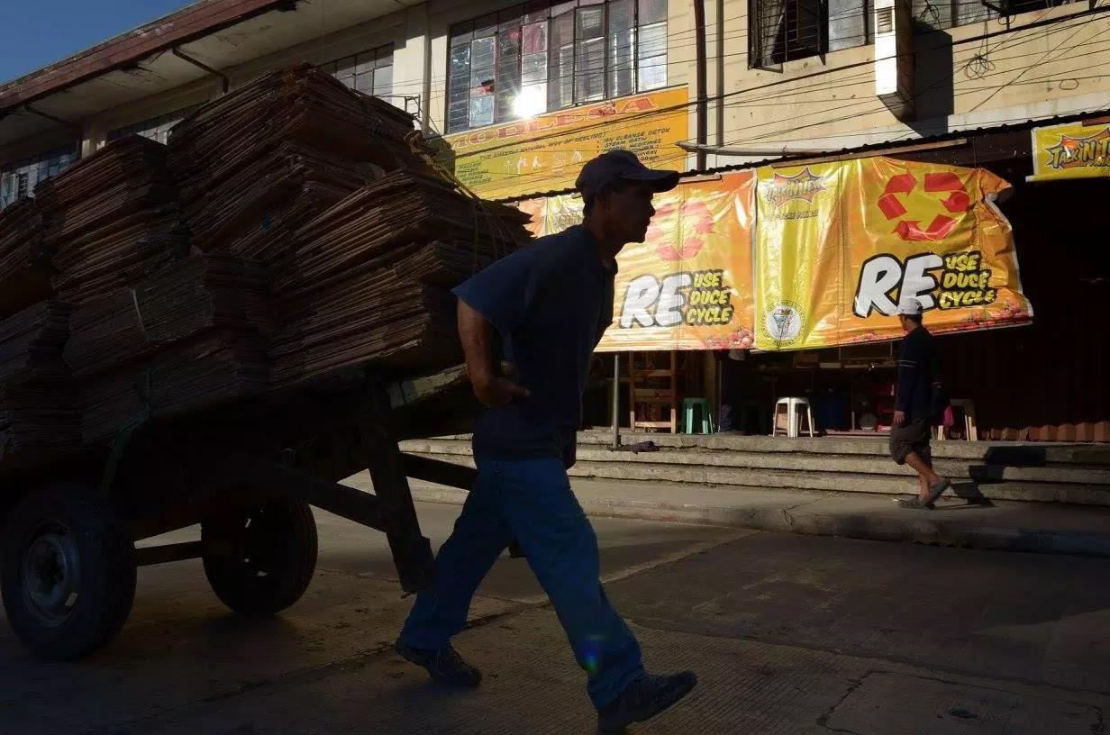 Porter Hauling Recycled Cartons La Trinidad Public Market Benguet Cordillera Administrative Region Philippines
