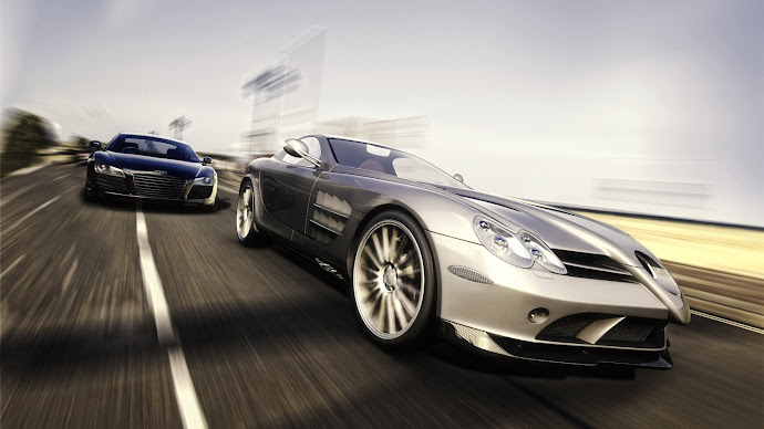 Wallpaper: Mercedes Bens SLR and Audi
